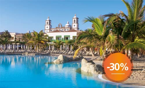 Book until September 30th your next holidays in our charming 5 star hotel with this incredible discount for stays until December 2020. Get an extra 10% discount if you pay your reservation now. Take this opportunity to stay at your favorite Lopesan at this special price.  Only for reservations through Lopesan.com or call center. Not combinable with other promotions and subject to availability. This offer does not apply to Unique Rooms or Suites.
