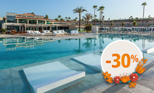 Book until March 21, 2021 and enjoy spring holidays at Kumara Serenoa by Lopesan Hotels, our new hotel in Maspalomas. Valid for stays until April, except for Easter.  Only for reservations through Lopesan.com or call center. Not combinable with other promotions and subject to availability. This offer may not apply to Suites. Price per person per night in double occupancy.