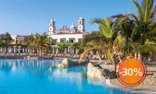 Book until November 30th, 2020 your next holidays in our charming 5 star hotel with this incredible discount for stays until April 2021 (except for Christmas and Easter). Get an extra 10% discount if you pay your reservation now. Take this opportunity to stay at your favorite Lopesan at this special price.  Only for reservations through Lopesan.com or call center. Not combinable with other promotions and subject to availability. This offer does not apply to Unique Rooms or Suites.